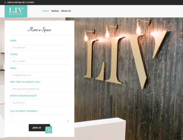 LIV Salons Homepage